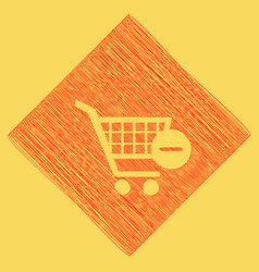 shopping cart with remove sign red vector image vector image