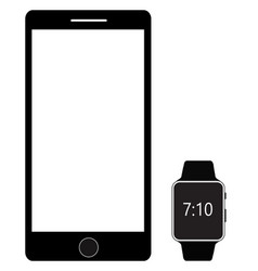 smartphone and digital smart watch isolated on vector image vector image