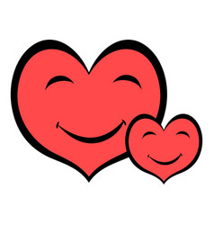 smiling heart faces icon icon cartoon vector image vector image
