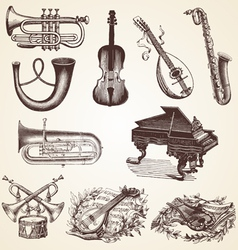 Vintage pack of musical instruments vector image vector image