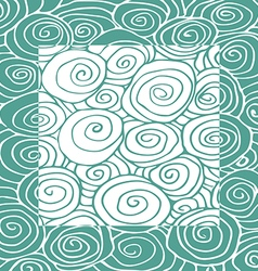 Waves hand-drawn pattern curled frame square vector image vector image