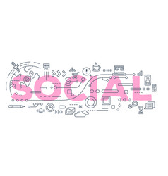 creative of social word lettering vector image