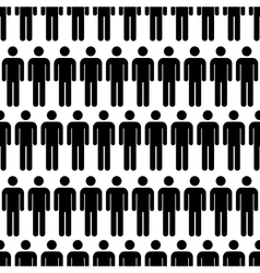 Crowd of black simple men icons seamless pattern vector image