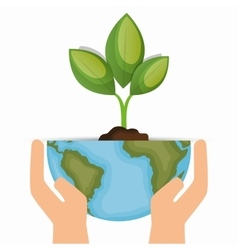 enviornment symbol hand hold world and plant vector image