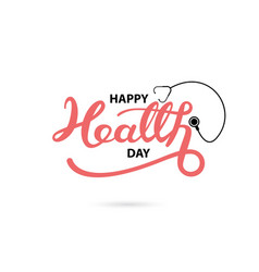 Happy health day typographical design elements vector