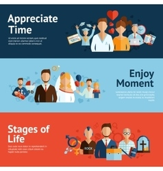 Stages of life concept banners set vector image vector image