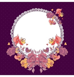 Wedding invitation with flowers and birds vector image