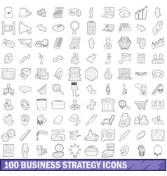 100 business strategy icons set outline style vector image vector image