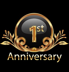 1st anniversary birthday in gold vector image vector image