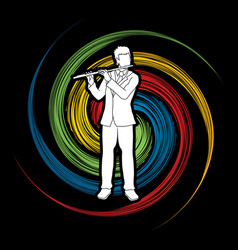 flutist player a man play flute classic music vector image