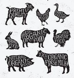Hand Drawn Farm Animal Set vector image vector image