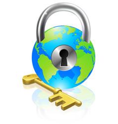 Lock and key globe vector