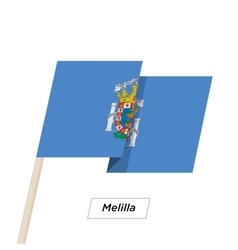 Melilla Ribbon Waving Flag Isolated on White vector image vector image