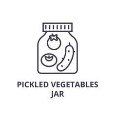 pickled vegetables jar line icon outline sign vector image