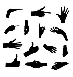 set of silhouettes of hands in different poses vector image