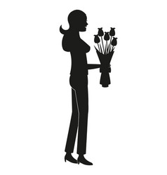 silhouette mother bouquet flowers vector image