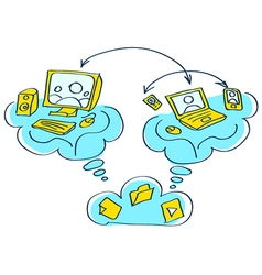 sketch pc notebook mobile device connect vector image vector image
