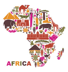 traditional symbols of africa in the form of a map vector image vector image