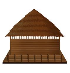 Wooden hut on woodn raft vector