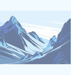 blue mountains with snow vector image vector image