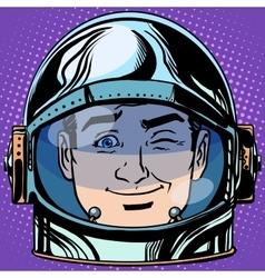 Emoticon wink emoji face man astronaut retro vector