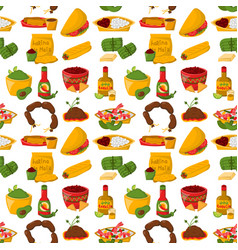 mexican traditional food with meat avocado vector image