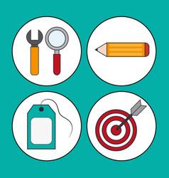 set digital marketing concept design vector image