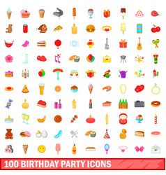 100 birthday party icons set cartoon style vector image