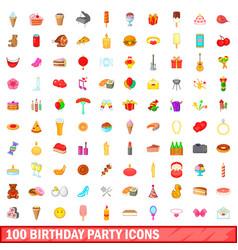100 birthday party icons set cartoon style vector