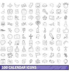 100 calendar icons set outline style vector