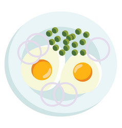 a breakfast platter with two sunny side ups and vector image