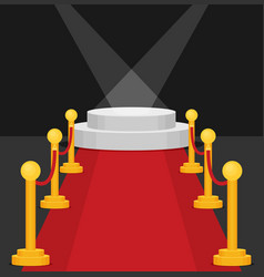 A stage with a red carpet flat vector