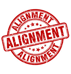 Alignment red grunge stamp vector