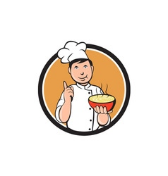 Asian Chef Noodle Bowl Circle Cartoon vector image