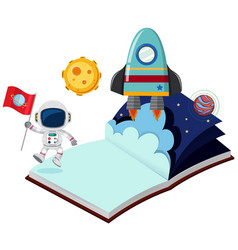 Astronaut and rocket in the book vector