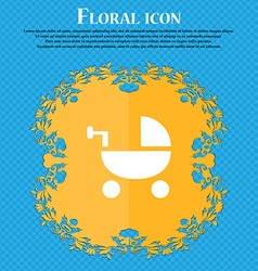Baby Stroller icon sign Floral flat design on a vector image