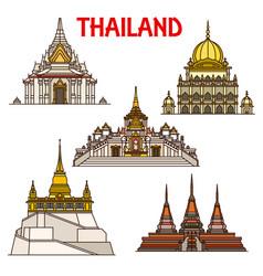 Bangkok travel landmarks icons thailand temples vector