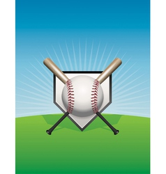 Baseball background ball and bats vector