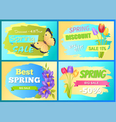 Best offer spring sale advertisement poster flower vector
