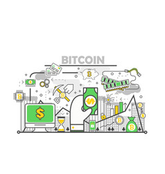 bitcoin concept modern thin line flat vector image