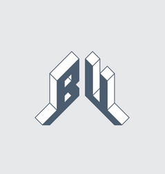 Bu - 2-letter code initials or logo for personal vector