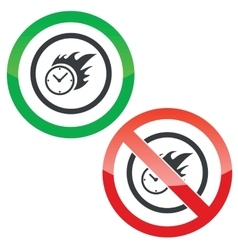 Burning time permission signs vector