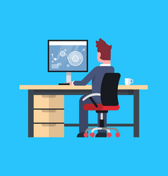 Business man sit at office desk working vector