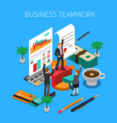 business teamwork isometric concept vector image