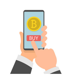 businessman hand holding smartphone with bitcoins vector image
