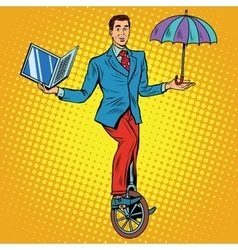 Businessman on unicycle business balance vector image