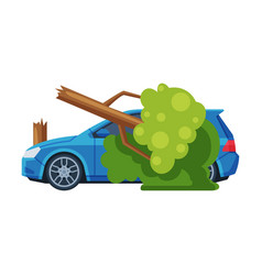 Car crash with tree road accident flat vector