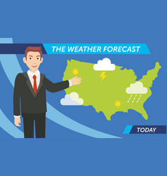 Cartoon of weather prediction for today are vector