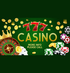 casino banner with poker cards slots and roulette vector image
