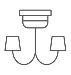 chandelier thin line icon furniture and home vector image